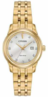 Citizen Womens 11 Diamond Gold PVD Plated EW2392-54A