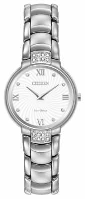 Citizen Womens 24 Diamond Stainless Steel White Dial EX1460-55A