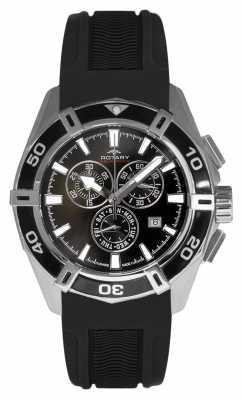 Rotary Mens Aquaspeed Chronograph Dial Black Rubber Strap AGS90089/C/04