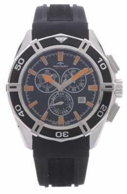 Rotary Mens Aquaspeed Chronograph Black Rubber Strap AGS90088/C/04
