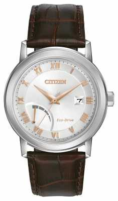 Citizen Eco-Drive Mens Strap Watch Silver Dial AW7020-00A
