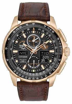 Citizen Eco-Drive Limited Edition Skyhawk A.T Brown Strap Gold Plate JY8056-04E