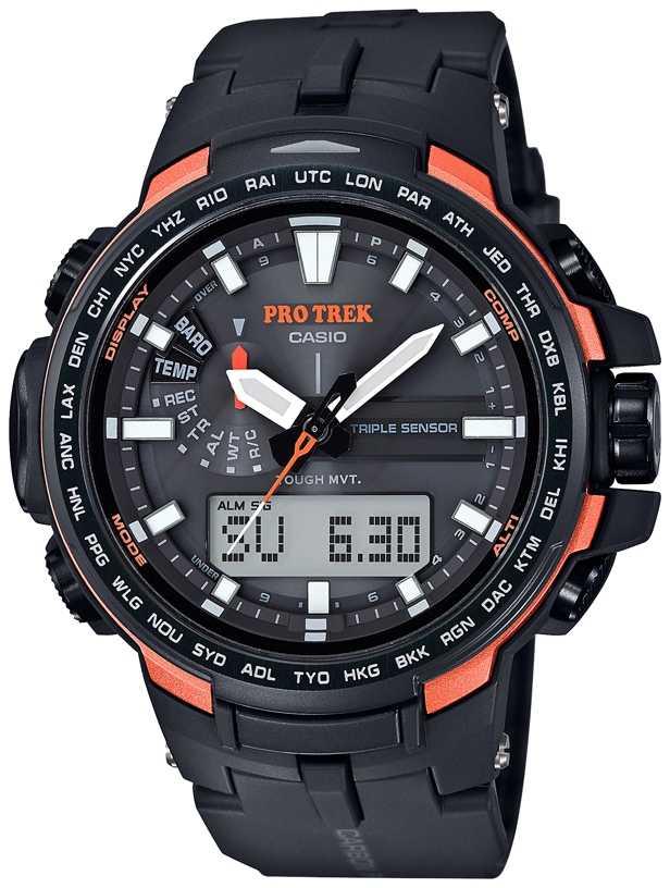 casio watches official uk retailer first class watches casio pro trek mens barometer temperature black orange prw 6100y 1er