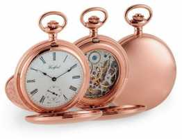 Woodford Double Hunter Rose Gold Mechanical Pocket Watch 1093