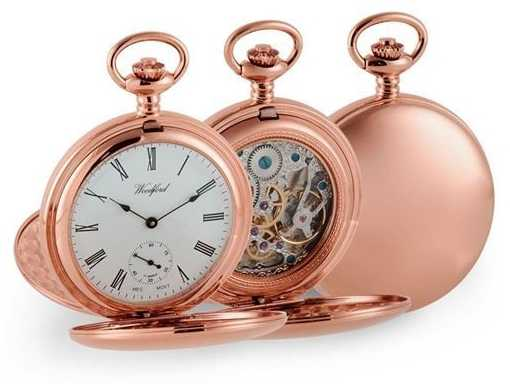Woodford Double chasseur en or rose montre de poche mécanique 1093