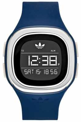 adidas Originals Mens Blue Silicone Strap Square Digital Dial ADH3139
