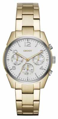 DKNY Womans Gold Plated Metal Strap White Chronograph Dial NY2471