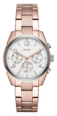 DKNY Womans Rose Gold Plated Metal Strap White Chronograph Dial NY2472