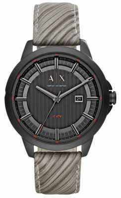 Armani Exchange Mens Grey Leather Strap Black Dial AX2264