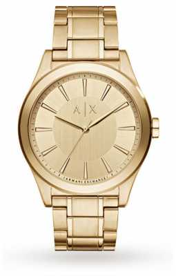 Armani Exchange Mens Gold Plated Stainless Steel Strap Gold Dial AX2321