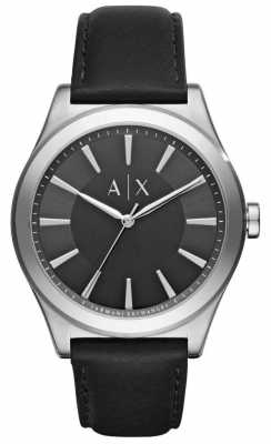 Armani Exchange Mens Black Leather Strap Black Dial Stainless Steel Dial AX2323