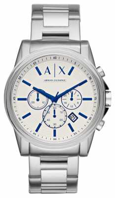 Armani Exchange Mens Stainless Steel Strap Cream Chronograph Dial AX2510