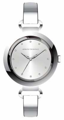 Armani Exchange Womans Stainless Steel Strap Round Silver Dial AX4239