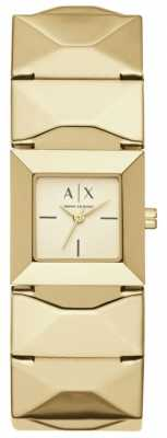 Armani Exchange Womans Gold Plated Stainless Steel Strap Square Gold Dial AX4290