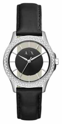 Armani Exchange Womans Black Leather Strap Black Dial Stainless Steel Case AX5253