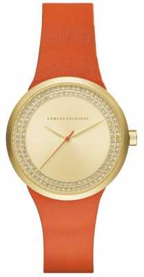 Armani Exchange Womans Orange Leather Strap Gold Plated Dial AX6012