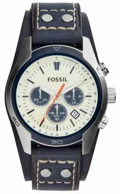 Fossil Mens Navy Blue Leather Strap Cream Chronograph Dial CH3051