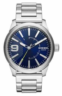 Diesel Mens Stainless Steel Silver Metal Strap Blue Dial DZ1763