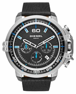 Diesel Mens Black Leather Strap Black Chronograph Dial DZ4408