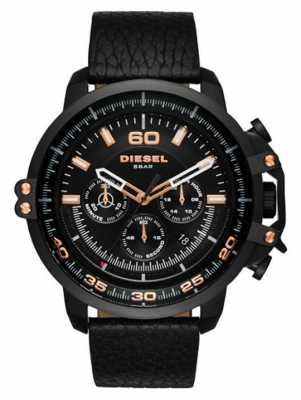 Diesel Mens Black Leather Strap Black Chronograph Dial Black Case DZ4409