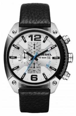 Diesel Mens Black Leather Strap White Chronograph Dial DZ4413