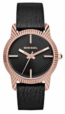 Diesel Womanas Black Leather Strap Rose Gold Plated Case DZ5512