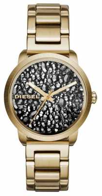 Diesel Womans Gold Plated Stainless Steel Strap Patterned Dial DZ5521