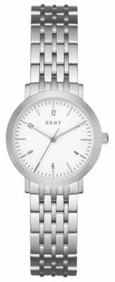 DKNY Womans Stainless Steel Silver Mesh Strap Round White Dial NY2509