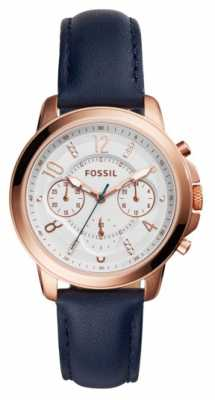 Fossil Womans Blue Leather Strap Rose Gold Plated Case ES4040