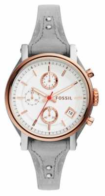 Fossil Womans Grey Leather Strap Round White Chronograph Dial ES4045