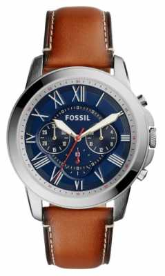 Fossil Mens Brown Leather Strap Blue Dial Stainless Steel Case FS5210