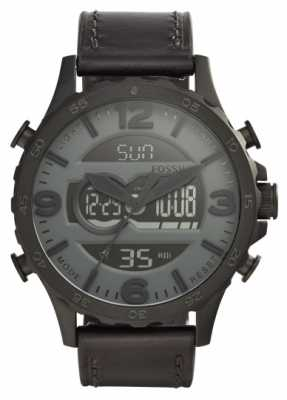 Fossil Mens Black Leather Strap Black Case Digital Dial JR1520
