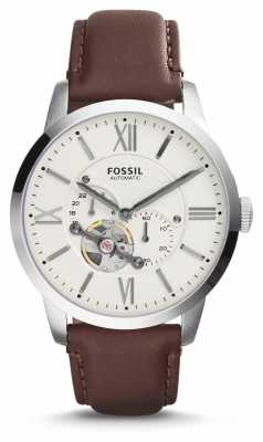 Fossil Mens Brown Leather Strap White Chronograph Dial ME3064