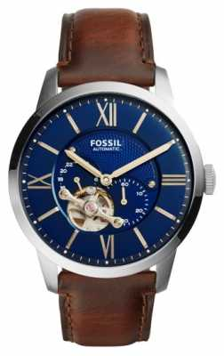 Fossil Mens Brown Leather Strap Round Blue Dial ME3110