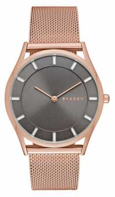 Skagen Womans Rose Gold Plated Stainless Steel Mesh Strap Grey Dial SKW2378