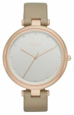 Skagen Womans Beige Leather Strap Silver Dial SKW2484
