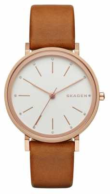Skagen Womans Tan Leather Strap White Dial SKW2488