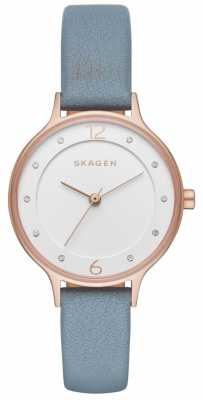 Skagen Womans Slim Grey Leather Strap White Dial SKW2497