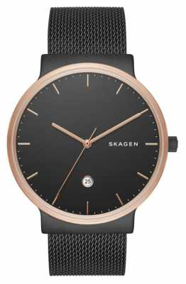 Skagen Mens Black Stainless Steel Mesh Strap Black Dial SKW6296