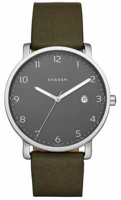 Skagen Mens Dark Green Leather Strap Grey Dial SKW6306
