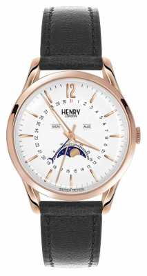 Henry London Richmond Rose Gold Case Black Leather Strap HL39-LS-0150
