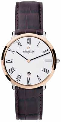 Michel Herbelin Mens Ikone Grande Brown Leather Strap White Dial 19515/TR01MA