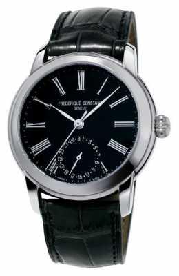 Frederique Constant Mens Classic Manufacture Black Leather Strap Black Dial FC-710MB4H6