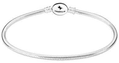 Chamilia Sterling Silver Oval Snap Bracelet 7.9 Inches 1010-0165