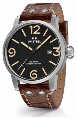 TW Steel Mens Maverick Brown Leather Strap Black Dial MS1