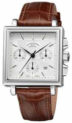Muhle Glashutte Teutonia II Quadrant Chronograph Leather Band Silver Dial M1-33-35-LB