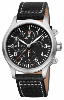 Muhle Glashutte Terrasport I Chronograph Leather Band Black Dial M1-37-74-LB