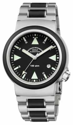 Muhle Glashutte S.A.R. Rescue-Timer Stainless Steel Band Black Dial M1-41-03-MB