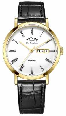Rotary Mens Les Originales Windsor Black Leather Strap White Dial GS90156/01