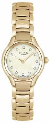 Rotary Womens Gold PVD Plated Mother Of Pearl Dial LB02811/40